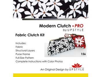 Modern Clutch - PRO Fabric Clutch Kit by UPSTYLE - Black and White Modern Daisy Floral - Supplies Sewing Project Tutorial Pattern