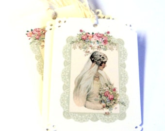 2 Gift Tags, Beautiful Bride, Bridal Shower Gift Tags, Wedding Gift Tags, Handmade, Merchandise Tags