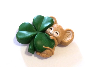 Vintage Mouse and Shamrock Brooch Magnet, Upcycled Brooch, Home Decor
