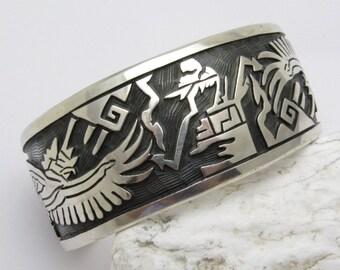 Hopi Sterling Storyteller Cuff Wide Vintage Bracelet Large Size B7285