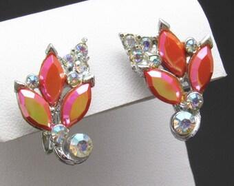 Pink Rhinestone Earrings Vintage Jewelry E7445