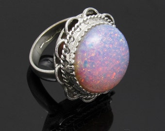 Whiting Davis Ring Big Pink Glass Opal Vintage Jewelry R7458