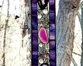 Stained Glass, Panel, Purple and Pink, Geode Slice, with Glass Nuggets and Decorative Wire