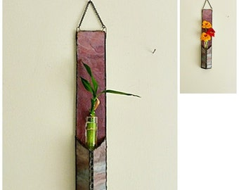 Stained Glass, Bamboo Plant, Wall Hanging, Multi Colored Mauve, Flower Cutting, Planter