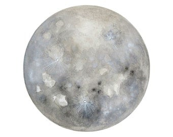 Luna 21 - Archival 8x10 Art Print - Contemporary Watercolor Painting - Astronomy, Full Moon - by Natasha Newton
