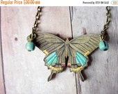 Butterfly Necklace in Brown and Turquoise