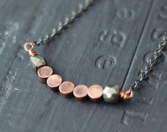 50% Off Rustic Pyrite and Copper Necklace  Geometric, Rustic, Boho  Mixed Metals, Oxidized Silver, Metallic