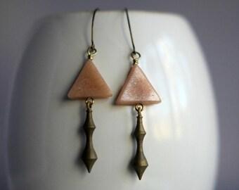 Peach Aventurine Triangle Earrings, Industrial Machine Cut Brass Drops, Geometric, Tribal, Rustic Dangles, Gift Box