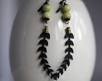 Laurel Leaf Earrings, Persian Blue Patina, Brass Dangles with Olive Green Jasper Beads, Gift Box