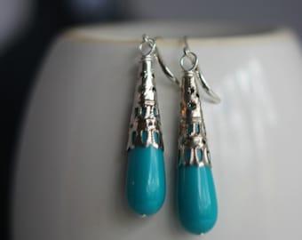 Turquoise Teardrop Earrings, Turquoise Blue, Silver Dangles, Filigree Drops, Lightweight,Boho Bohemian, Under 10