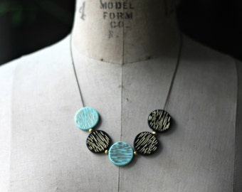 Mint Green and Black Necklace, Modern Circles, Retro Mod, Mid Century, Mad Men, Aqua Green, Gold Brass, Gold Etched