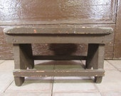 Nice rustic, primitive foot stool in chippy brown paint- solid, great rustic home decor