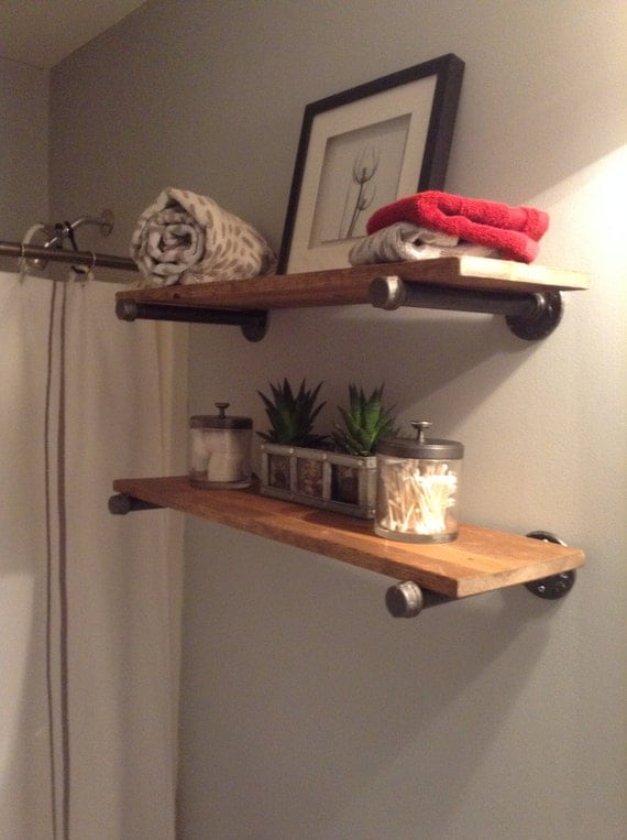 Items similar to rustic industrial plumbing pipe and - Tablette bois salle de bain ...