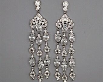 Chandelier Bridal Earrings Crystal Wedding Earrings Long Bridal Jewelry Cubic Zirconia Earrings White gold Wedding Jewelry Braut Ohrringe