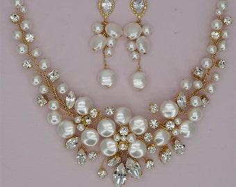 Gold Bridal Sets Crystal Necklace Earrings Wedding Jewelry Sets Swarovski Crystal Jewelry Set Rhinestone Jewelry Sets