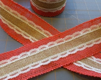 LAST CHANCE ~ CORAL Orange Apricot Peach Red or Burgundy Burlap and Lace Ribbon