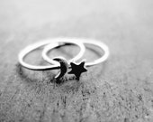 Sterling Silver Moon and Star Ring Set - Solid 925 - Insurance Included