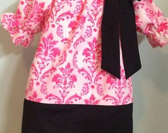 Pink Damask Peasant Dress