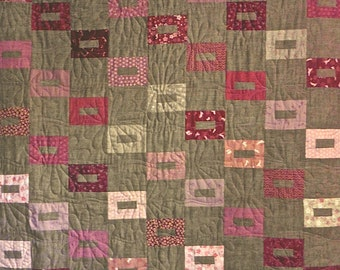 Patchwork Quilt - red and pink Japanese Lincoln's Platform throw