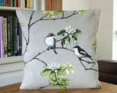 birds decorative pillow cover, grey black white green flowers, cushion cover 16 inch