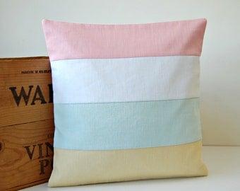 colour block decorative pillow cover 16 inch, white, pastel lemon, baby pink, mint cushion cover, solid accent linen 40 cm