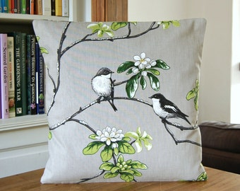 birds decorative pillow cover, grey black white green flowers, cushion cover 16 / 18 inch