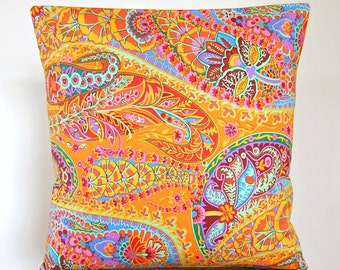 16 inch paisley cushion cover, burnt orange, mustard, mint green, orange, lilac flowers floral decorative pillow cover