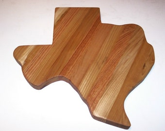 Texas Wood Cutting Board (Big Texas) Handcrafted from Mixed Hardwoods