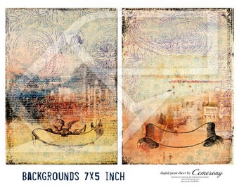 Backgrounds 7 x 5 inch Digital Collage Sheet no264