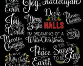 Happy Holiday Songs - Christmas Songs Digital Photographer Word Art Overlays- Instant DOWNLOAD