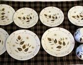 Tin toy tea set - Mid century modern design - 11 pieces - White - Gold - Black - Excellent condition