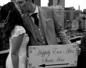 This way to HAPPILY Ever AFTER - Wedding signs -  Wedding Decorations - With or Without Arrow / 20x9 - FREE Mr and Mrs champagne tags