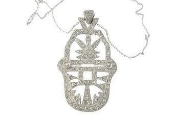 Art Deco Antique Necklace Pendant, 1920s Deco Rhinestone Necklace, Original Antique Art Deco Wedding Jewelry, Bridal Jewelry