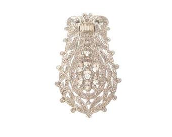 Antique Art Deco Dress Clip Brooch, 1920s Bridal jewelry, Vintage Wedding Jewelry, Rhinestone Deco Jewellery