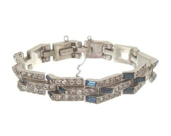 Sapphire Art Deco Bracelet, Vintage Rhinestone Crystal Link, Antique 1920s Wedding Jewelry, Vintage Jewellery