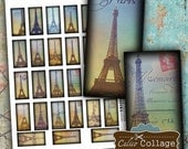 Eiffel Tower Digital Collage Sheet 1x2 Domino Images for Pendants, Magnets, Altered Art, Decoupage Paper, Craft Paper, Scrapbooking Dominoes