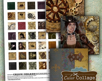Steampunk, Digital Collage Sheet, Printable, 1x1 Inch Squares, Images for Pendants, Victorian Steampunk, Digital Download, CalicoCollage