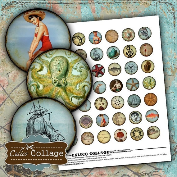 Nautical Digital Collage Sheet 1 Inch Circle Rounds Bottle Cap Images for Resin Pendants, Jewelry, Bows, Decoupage Paper, Calico Collage
