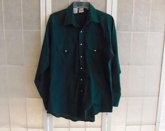 Vintage Green Western Frontier Men's Western Pearl Snap Shirt, Large