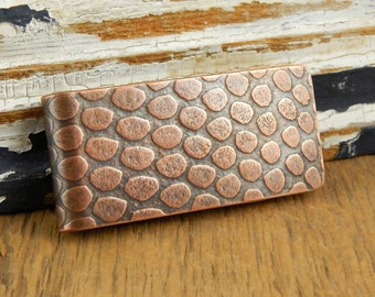 Copper money clip, snakeskin money clip, handmade gifts for him, Fathers Day gift.