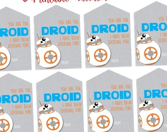 Star Wars BB8 Valentines Day Cards, Printable INSTANT DOWNLOAD