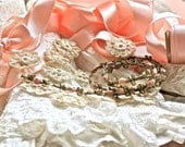 Antique French Petite Details..Silk Ribbonwork And Hand Made Lace Flowers