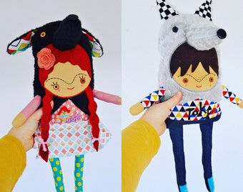 Personalized Custom Doll of Your Child Wearing an Animal Suit or Costume // 3-D Art Doll Made Just for You