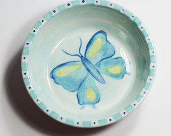 Pet Food Dish / Cat Food Bowl / Blue Butterfly Bowl