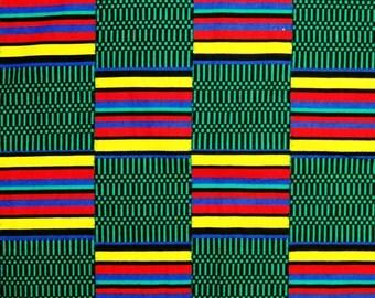African Fabric 1/2 Yard Cotton GREEN BLACK YELLOW Fuchsia Wax Kente Print