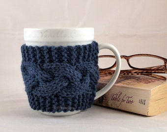 Windsor Blue Hand Knit Cable Coffee Mug Cozy