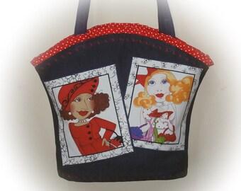 FREE Ship USA Canada - J Castle Boutique Bag - Denim Loralie Harris Designer Fabric - - - (Ready to Ship)
