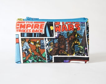Star Wars Pouch, Small Zipper Pouch, Coin Purse, Card Wallet, Gadget Case, Chewbacca, C3po, Darth Vader, Ready to ship, Gift Idea, Unisex