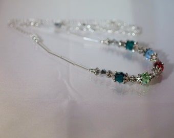 Swarovski Crystal Jewelry -  Mothers or Grandmothers Necklace - 3 to 5 Birthstones - Silver Filled Chain