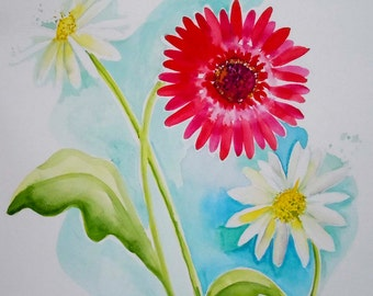 Flower Watercolor Original Painting, Floral Art, Botanical Watercolor-Gerbera Love